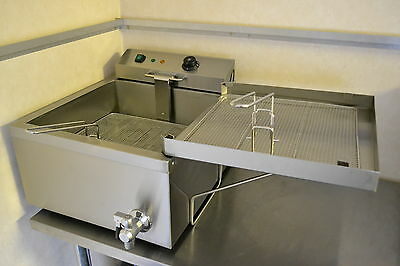 NEW Large Area 24L Donut Fisher Fryer 3kW Plug with side drainer