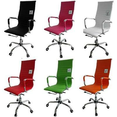 Eames Inspired High Back Ribbed Designer Executive Leather Computer Office Chair
