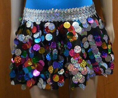 NWT Spangle Circle tap Skirt Child sizes Multi color Dance Costume w/ Hairbow