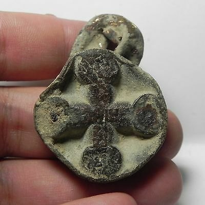 Zurqieh - Holy Land. Large Bronze Cross / Medal. Crusaders Times. 1300 A.d