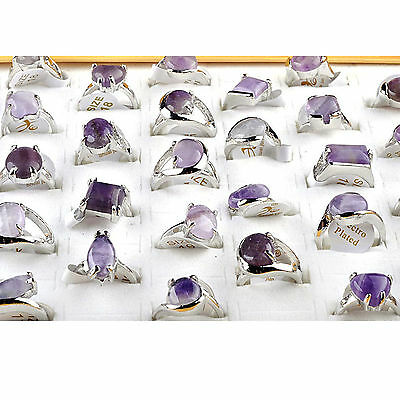 CHIC 5pcs Wholesale Jewelry Fashion Unisex Amethyst Crystal Silver Plated Ring