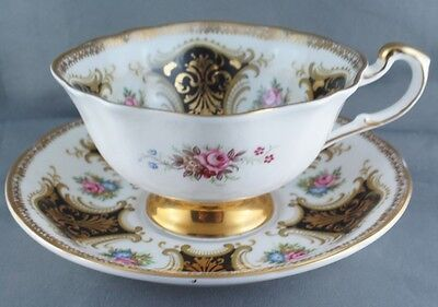 Paragon Square Black Rose Floral Gold Scroll Cup and Saucer Stunning