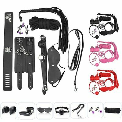 7PCS Faux Leather SM Bondage Fetish Restraint Role Play Toy Rope Cuffs Ball Gag