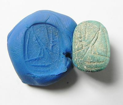 Zurqieh -Af323- Ancient Egypt , New Kingdom Stone Scarab. 1400 B.c