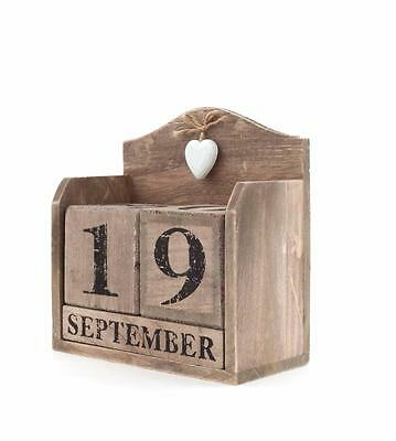 Rustic aged-look large wooden cube calendar, with hanging white heart CA_36615