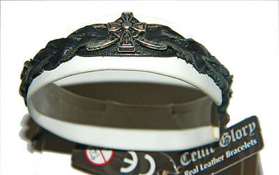 Leather Braided Bracelet Irish Celtic Cross Black leather Weave Wristband 8056BL