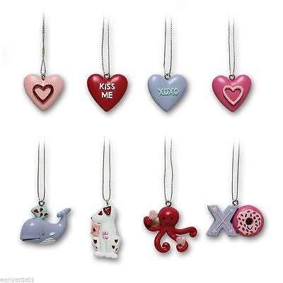 Valentine 8 pc Mini Ornament Set Hearts Dog Octopus Doughnut Whale Adorable Set!