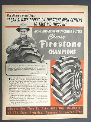 Orig 10x13 Dated 1952 Firestone Ad Photo Endorsement Lawrence Larson Orion Ill