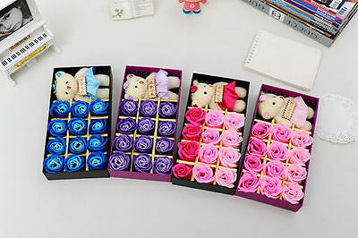 Lot Bear Rose Flower Gift Box Fragrance Artificial Flowers Valentine's Day Gifts