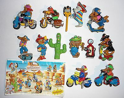 Kinder surprise figures set Moto Coyotes Bikes 2004 with paper