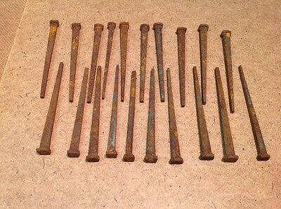 20 Antique Rusty 3 1/4 Inch Square Head Nail Lot. Solid Fully Functional