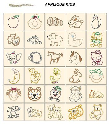 APPLIQUE KIDS. CD or USB machine embroidery designs files most formats pes etc