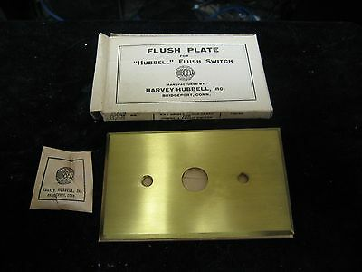 "Antique Hubbell 2-3/4"" X 4-1/2"" Brass Finish Flush Plate for Flush Switch NOS"