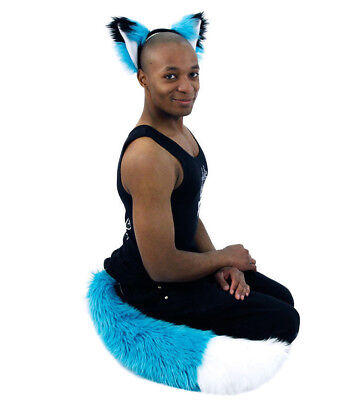 PAWSTAR FOX Ears TAIL cosplay COSTUME FURRY wolf White Big Teal Blue [TU/WH]4001