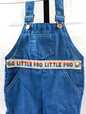 Vintage 1960s Health-tex Denim Overalls Shorts Blue Jeans Little Pro 3 Toddler