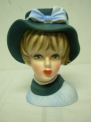 VINTAGE NAPCO PRETTY BLUE LADY HEAD VASE with PEARL NECKLACE ~ 7 1/2""