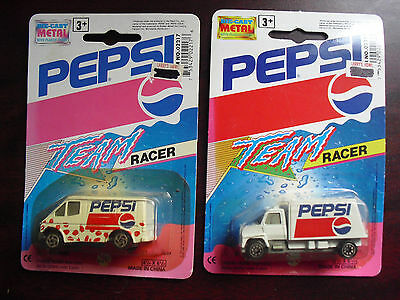 Lot of 2 Golden Wheel Pepsi Diecast Plastic Van and Truck Vehicles  NIP