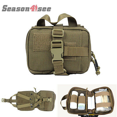 Tactical 1000D Molle Medical First Aid Kit Pouch Home Rescue Bag Coyote Brown