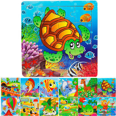 1Set 16 Piece Kids Jigsaw Toys Children Education Learning Wooden Puzzles Toys