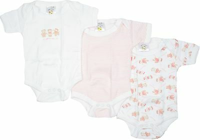Baby Basics 3 Pack Teddy Bodysuits Pink  0-3 months