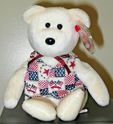 Ty Beanie Baby ~ LIBERT-E the Bear ~ Internet Exclusive ~ MINT with MINT TAGS
