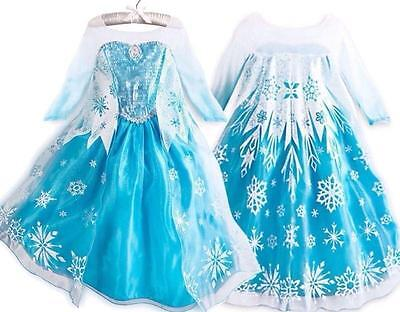 FROZEN PRINCESS ELSA SNOWFLAKE GIRLS COSTUMES COSPLAY DRESS CAPE FOR 2-10 años
