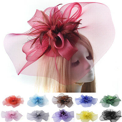vintage handmade women wedding large hat feather fascinator hair clip accessory