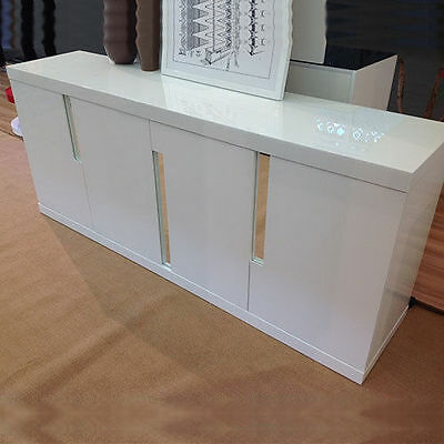 MODERN CREDENZA CABINET White High Gloss Lacquered Designer Buffet Console Table