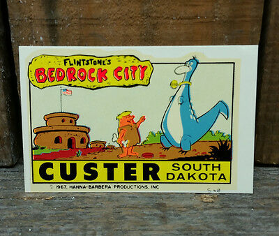 Rare Flintstones Vintage Travel Decal Bedrock City South Dakota Auto Trailer Old