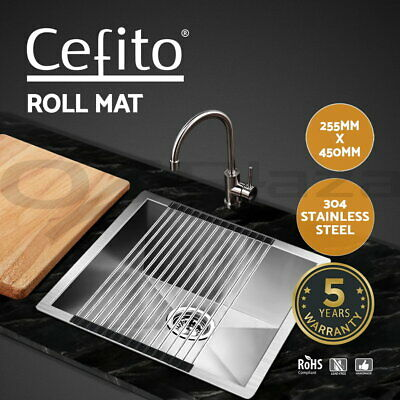 Cefito 255x450mm Stainless Steel Roll Mat Handmade Roller Kitchen Sink Holder