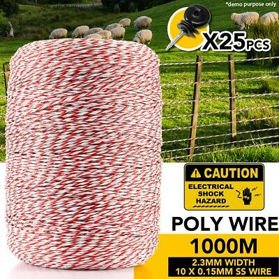 1000M Electric Fence Polywire Polyrope Wire Poly Rope With 25PCS Insulators
