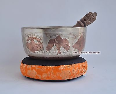 "7"" Bronze Alloy Colored Tibetan Buddhism Singing Healing Meditation Bowl Nepal"