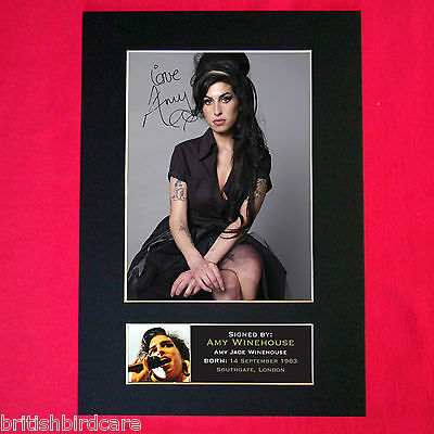 AMY WINEHOUSE Mounted Signed Photo Reproduction Autograph Print A4 228