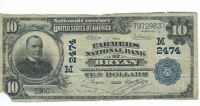 1902 Farmers National Bank of BRYAN, OH $10 National Note; Plain Back; CH# 2474