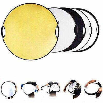 """24"""" 60CM 5-in-1 Photo Studio Multi Disc Photo Collapsible Light Reflector Handle"""