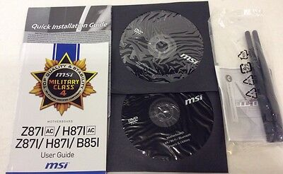 Antenna, Manual, Installation Guide, And 2 Discs For Msi Z87I Ac Motherboard