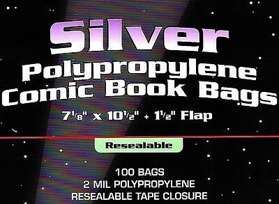 100 BCW Silver Resealable Bags and Boards Comic Book Archival Storage