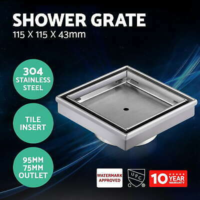 115x115mm Stainless Steel Shower Grate Tile Insert Drain Square Bathroom Home