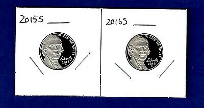 2015 S AND 2016 S Jefferson Nickel Set-Gem Proof-IN STOCK-TWO Proof Nickels