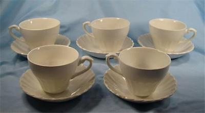5 J & G Meakin Classic White Flat Cup & Saucer Sets J & G Meakin VintagAS IS (O)