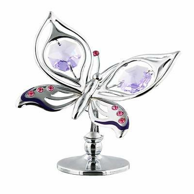 Crystocraft Silverplated Butterfly Gift Ornament With Crystal SP722