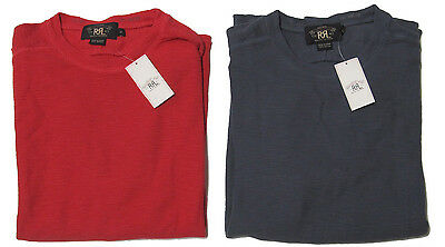 Double Ralph Lauren RRL Mens Red Blue Slim Fit Long Sleeve Thermal Shirt Sweater