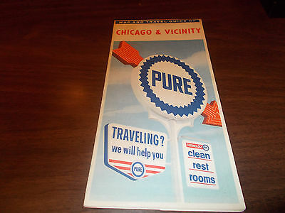 1961 Pure Oil Chicago and Vicinity Vintage Road Map