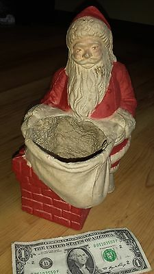 """Vintage Paper Mache SANTA IN CHIMNEY - Large 10"""" tall & very nice condition"""