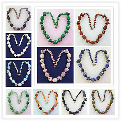 Beautiful 1 strand Hand-knitted Mixed Stone  Necklace 17.5 inch Lx64