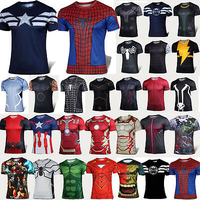 Mens Casual Sports T-Shirt Marvel Superhero Costume Top Tee Jersey Cycling Shirt