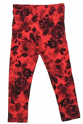 Baby Girls Leggings Red With Black Flock Feel Flower 0-3M Up To 2-3Y Ex Store