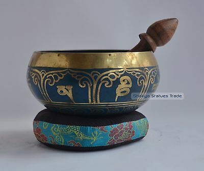 "5"" Bronze Alloy Colored Tibetan Buddhism Singing Healing Meditation Bowl Nepal"