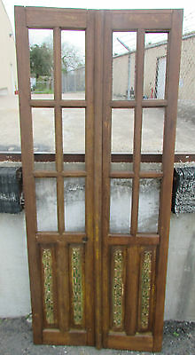 Antique Pair Carved Mexican Old Doors-Vintage-Primitive-Rustic-Wood-32x77 in