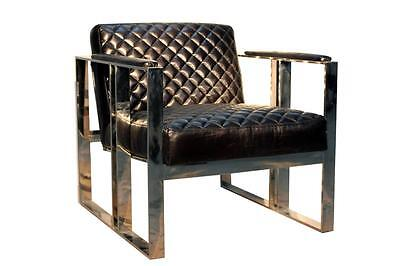 Black Leather & Stainless Steel Metal Armchair - Industrial / Warehouse Style